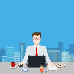 Businessman workplace modern city background template mockup