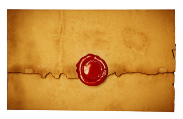 Antique old envelope with wax seal.