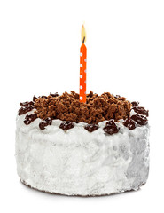 Cake and candle isolated on white background
