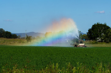 Australia, Queensland, Warwick, Colorful rainbow during irrigation