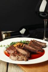 Steak with wine sauce