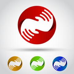 Hands circle set. Conceptual symbol