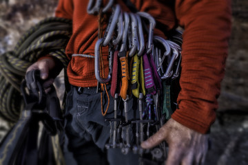 USA, Colorado, Mesa County, Grand Junction, Rock climber's harness, gear and ropes