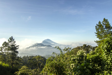 Indonesia, Bali, View of Mt Agung and Mt Batur