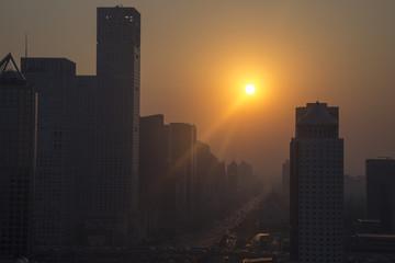 China, Beijing, Guomao at sunset