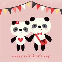 happy valentines day card pandas bunting garland peach