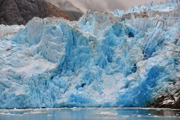 USA, Alaska, Tongass National Forest, Blue Ice of South Sawyer Glacier