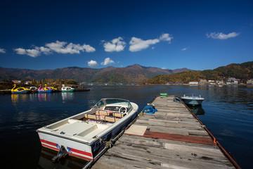 Japan, Chubu Region, Tagata, Fujiyoshida, Water transportation at Kawaguchi Lake