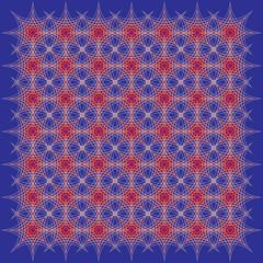 red lattice on blue background