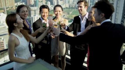 Team Business Associates Social Meeting Rooftop Bar