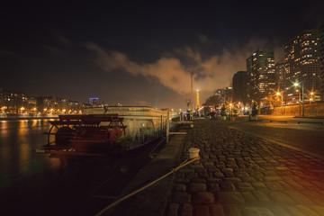 France, Paris, Empty embankment at night