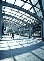 Japan, Tokyo, Man walking through pedestrian walkway
