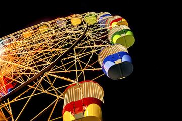 Australia, Sydney, Low angle view of Ferris Wheel At Night in Luna Park