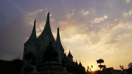 Stock Video Footage 4K Wat Ratchanatdaram monument King Rama III