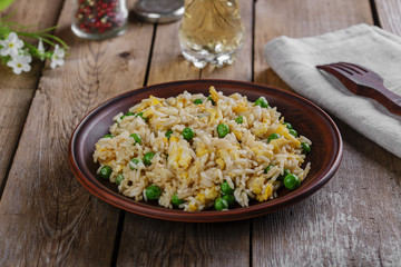 fried rice with egg and peas