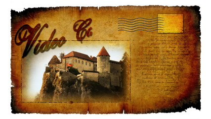 Animated video card with picture of castle in Bled in Slovenia