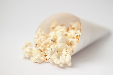 Close up of Pop corn on white background