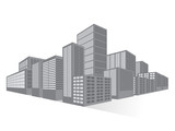 Black and White City Downtown Skyscrapers, Vector Illustration