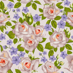 Summer floral background with roses. Seamless pattern floral.