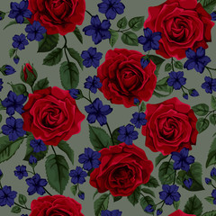 Seamless pattern with red roses , vector illustration. Perfect f