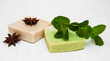 Homemade soap  with fresh mint leaves and anise - 77412758