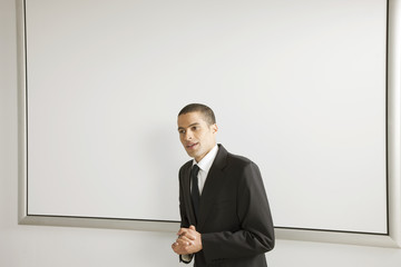 Businessman giving presentation
