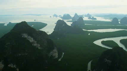 Aerial view Phang Nga Bay many Islands and Inlets,  Thailand