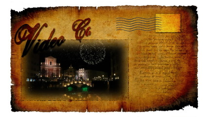 Animated video card with inscription greetings from me to you and picture of decorated Ljubljana for winter holidays