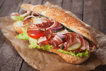 Submarine sandwich with bacon