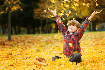 Portrait of boy (6-7) throwing autumn leaves up in park
