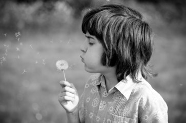 UK, England, Oxfordshire, Oxford, Young boy (10-11) blowing dandelion in field