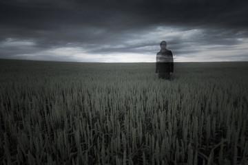 Norway, Man standing in field