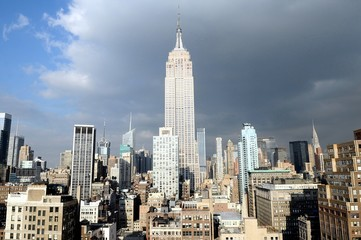 USA, New York State, New York City, Empire State Building at sunlight