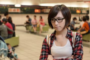 Asian young girl wait