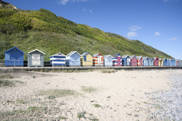UK, Norfolk, Cromer, Colorful Beach Huts