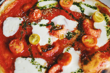 Fresh handmade stone baked margarita pizza