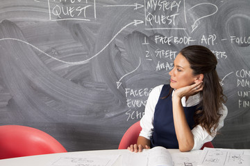 Businesswoman sitting by blackboard in the office