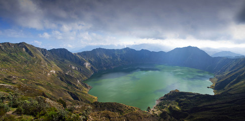 Ecuador, Elevated view of Quilotoa Lake