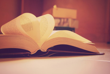 Pages of book in heart shape