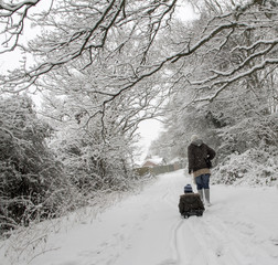 Two people on walk in forest at winter