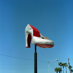High Heel monument against clear sky
