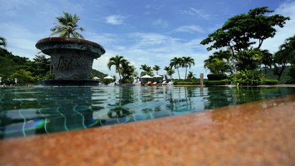 Close up pool water view tourist resort Southeast Asia