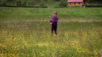Shot of little girl runnig across meadow and blowing dandelion's blossom