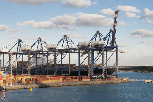 Leinwandbild Motiv Container Port Cranes