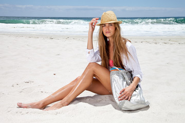 South Africa, Young woman at the beach