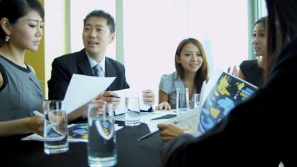 Boardroom Meeting Asian Chinese Banking Executives