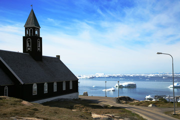 Greenland, Ilulissat, View of church