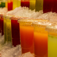 Close-up of fruit juices