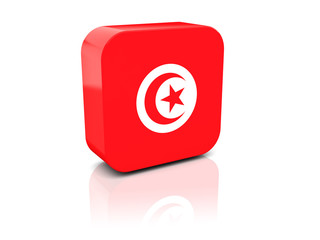 Square icon with flag of tunisia
