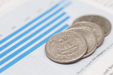 American coins on financial graph